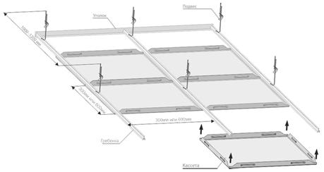 потолок Кассетный скрытого типа - схема