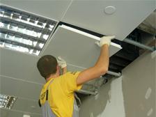 Монтаж кассетных подвесных потолков